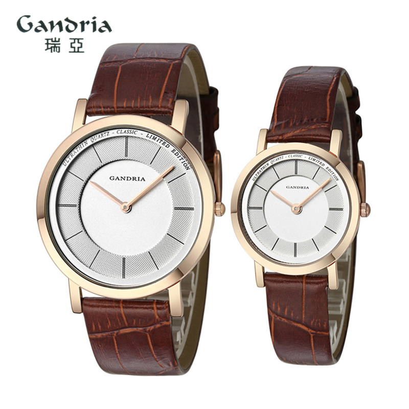 Women Watch GRANDIA Brand Business Quartz Watch Two-needle Simple Couple Table Man Woman Fashion Wristband Gift Clock 6012