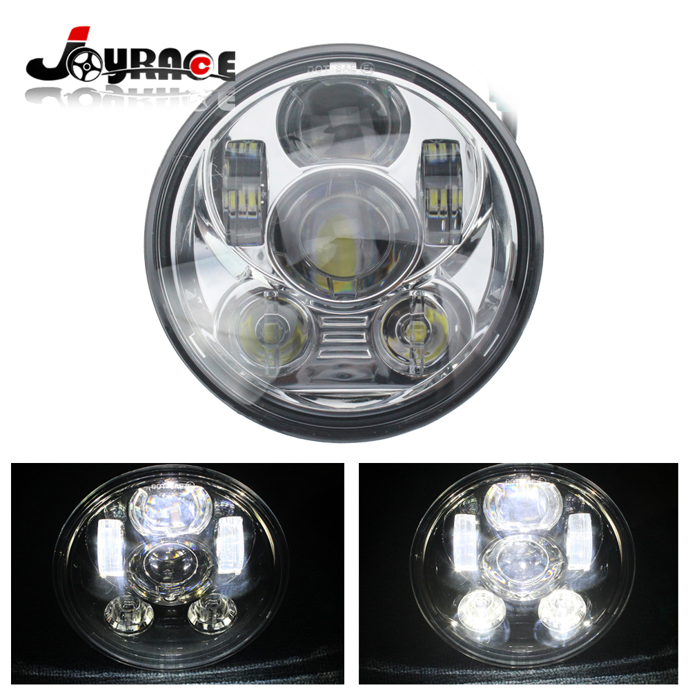 5.75 Inch Round 75W Daymaker Projector <font><b>LED</b></font> Headlights High/Low Beam w/DRL for Jeep Wrangler JK <font><b>TJ</b></font> Harley Davidson
