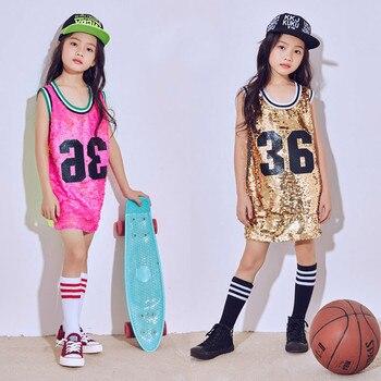 Nuevo niño ropa de hip hop danza Disfraces para Niñas danza moderna Jazz  lentejuelas fluorescente niños chaleco vestido del funcionamiento de la  etapa ... 239f1b5a007