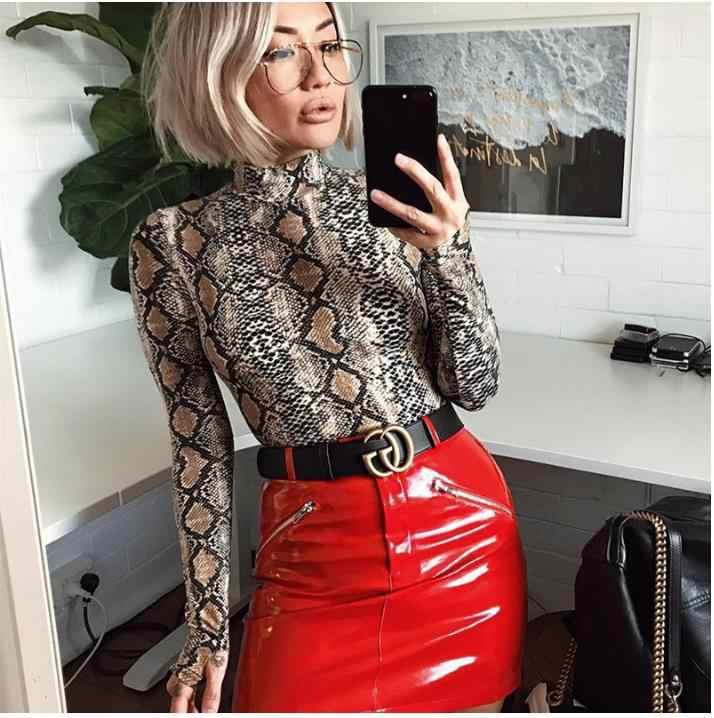 2019 Mới Cao Cổ Nữ Gợi Cảm Bodysuit Loài Rắn In Thời Trang Nữ Cotton Gợi Cảm Hộp Đêm Cơ Thể Bodycon Bodysuit