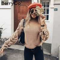 BerryGo Casual lace up knitted sweater ladies 2018 O neck autumn pullover cute sweater women Winter pink fall jumper female