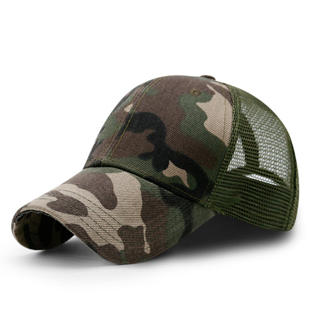 Camouflage Baseball Cap – American Flag Half Mesh