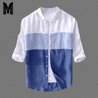 Men's Casual Color Matching Seven Point Sleeve Shirt Quality Cotton Linen Loose Stitching Men's Shirt Y1567