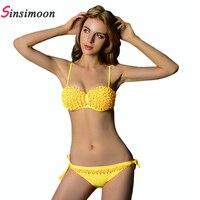 Summer Style 2015 New Fashion Push Up Bikini Sexy Bathing Suit Brazilian Swimsuit Solid Strap Bikini