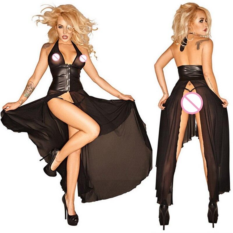 Exotische Damenbekleidung Exotische Kleidung Frauen Patent Leder Eine Größe Metallic Farbe Sexy Dessous Criss-kreuz Tank Mini Kleid Clubwear