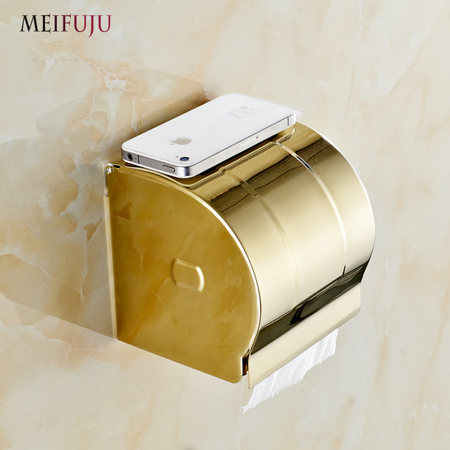 Admirable Us 54 32 Luxury Golden 304 Stainless Steel Toilet Paper Holder Roll Holders Tissue Box Holder Bathroom Accessories Products Hardware Set In Paper Download Free Architecture Designs Lectubocepmadebymaigaardcom