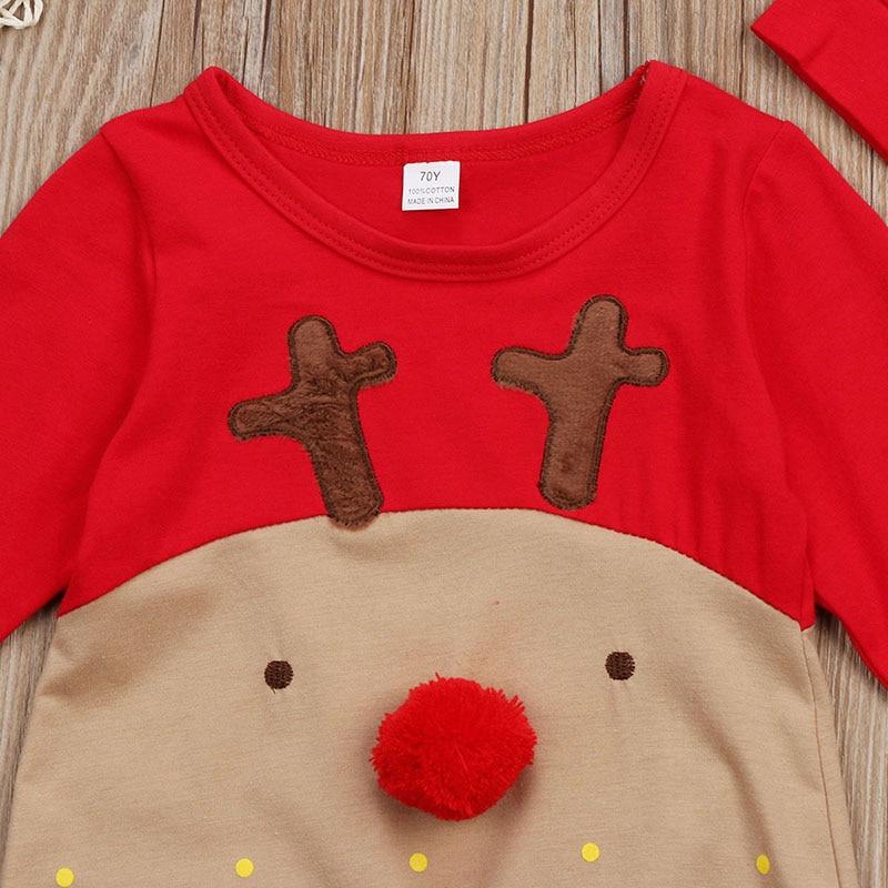 8c12f3d0a2e37 Christmas Newborn Baby Boy Girl Clothes Long Sleeve Deer Cartoon Cotton  Romper Jumpsuit+Hat 2PCS Xmas Gift Children Clothes Tags