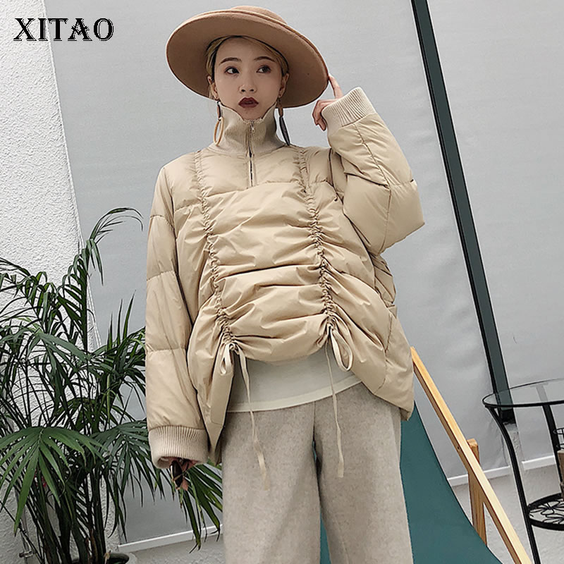 [XITAO] Patchwork Pleated Women Winter Spring White Duck   Down   Full Sleeve Turtleneck Solid Color Casual   Down     Coat   WBB1201