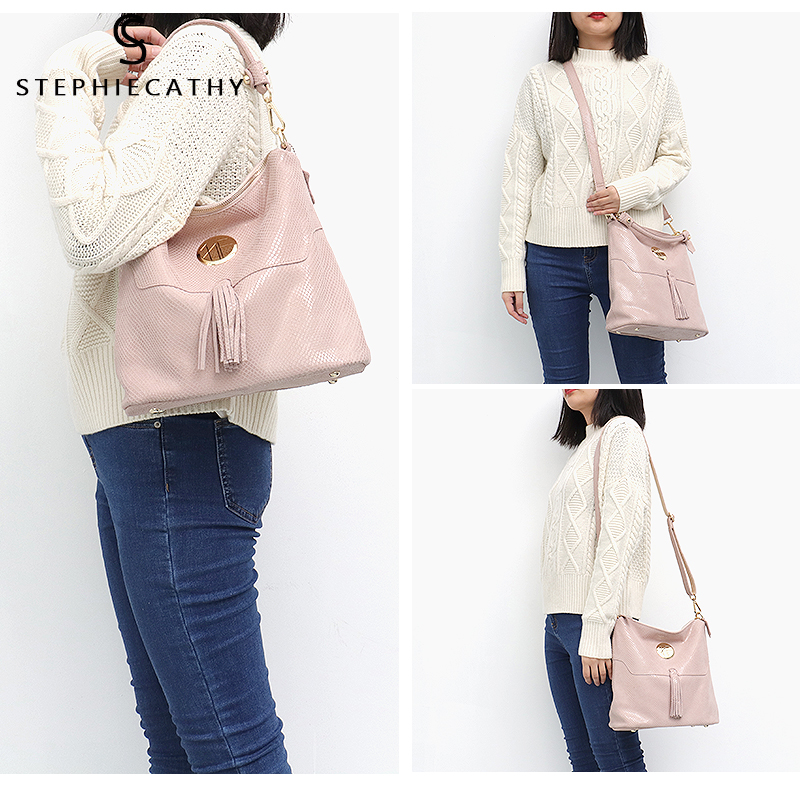 SC Brand Luxury Women Leather Shoulder Bags Female Tassel High Quality Hobo Handbag Large Soft Girls Purse Messenger Bags-in Shoulder Bags from Luggage & Bags    2