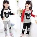 2016 Nueva Primavera Otoño Ropa Niños Niñas Juegos de Ropa de la Historieta de Minnie tops la camiseta de las polainas pantalones del bebé niños 2 unids traje