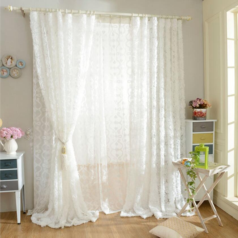 Pastoral Korean Creative White Lace 3D Rose Curtains Voile Custom Window  Screens For Marriage Living Room Bedroom AF031 30 In Curtains From Home U0026  Garden On ...