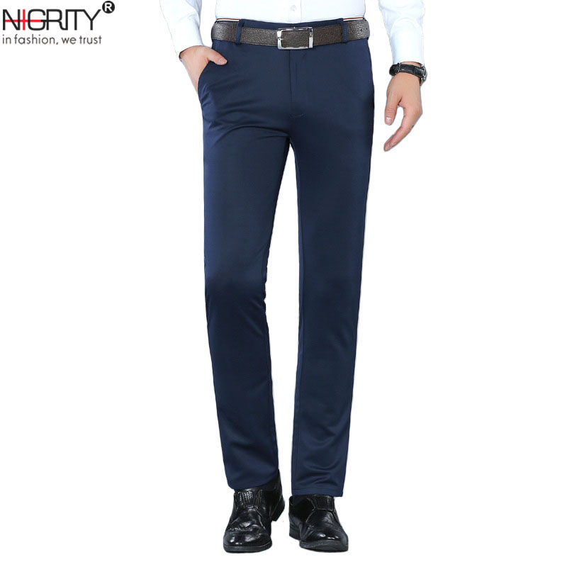 NIGRITY Brand Men Pants Casual Mens Business Male Trousers Classics Mid Weight Straight Full Length Fashion Breathing Pant 28-38