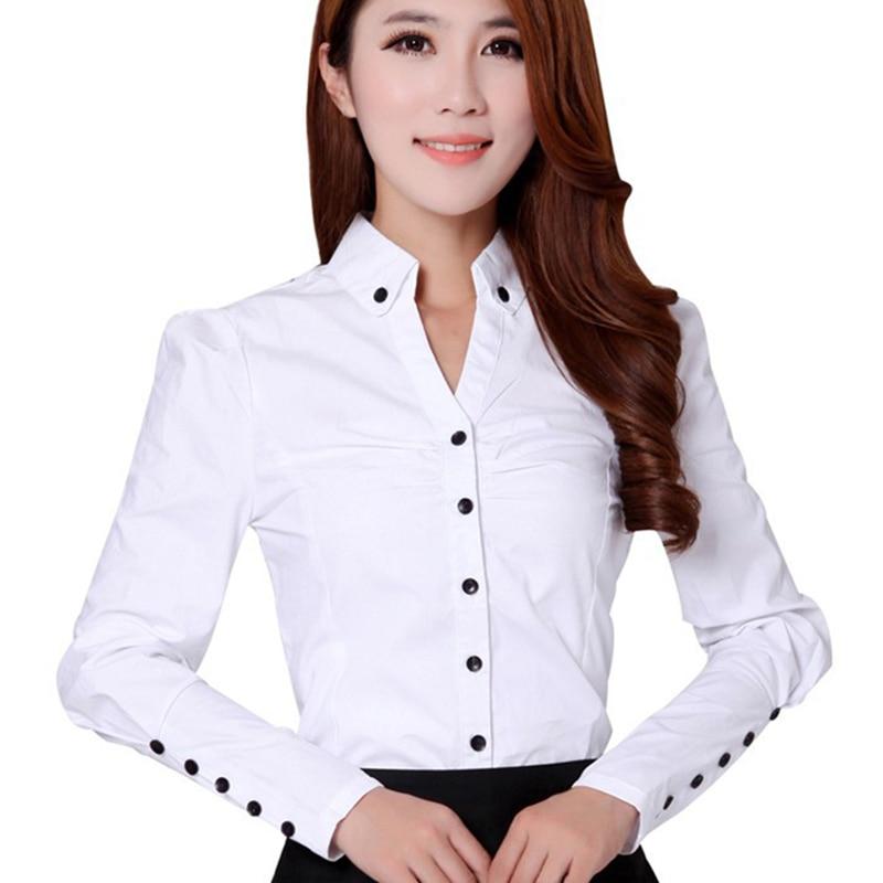 مهنة أزياء سيدة القطن قمصان بيضاء زائد حجم S-3XL كم زر ديكور ملابس الفتيات مكتب نمط البلوزات عارضة