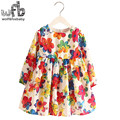 Retail 2-8 Milan Princess Dress Flax Long Sleeve Clothing Baby Girl Cute Korean Rainbow Flower Floral Print Spring fall 2016 New