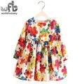 Varejo 2-8 Milan Princesa Vestido de Linho de Manga Longa Roupas de Bebê menina Coreana Bonito Rainbow Flower Print Floral Primavera queda 2016 nova
