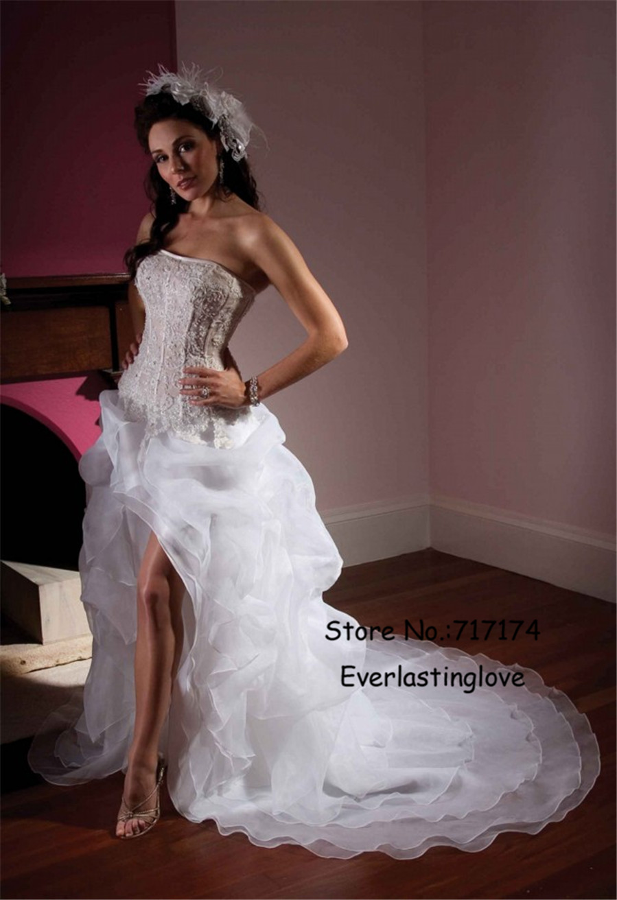 French Lace And Crystal Work Throughout Ccorset Bodice High Low ...