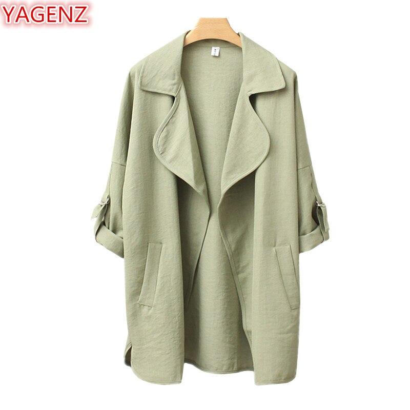 YAGENZ Trench-Coat Windbreaker Spring Long-Sleeve Coat1006 Autumn Women Plus-Size Casual
