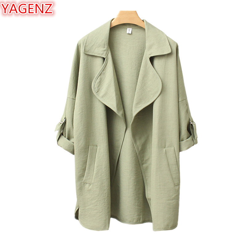 YAGENZ   Trench   Coat For Women Plus size Casual Women Tops And Blouses Spring Autumn Coats Female Long sleeve Windbreaker Coat1006