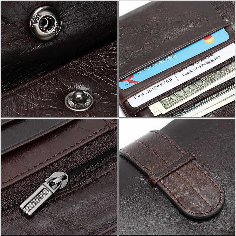 WESTAL portefeuille hommes en cuir véritable sac à main pour hommes pochette hommes portefeuilles longue en cuir fermeture éclair portefeuille hommes affaires argent sac 6018