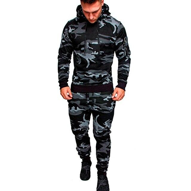 Камуфляжный спортивный костюм для спортзала и бега, мужская спортивная одежда с капюшоном, мужской костюм для бега на осень и зиму, мужской спортивный костюм из 2 предметов, теплый спортивный костюм для бега