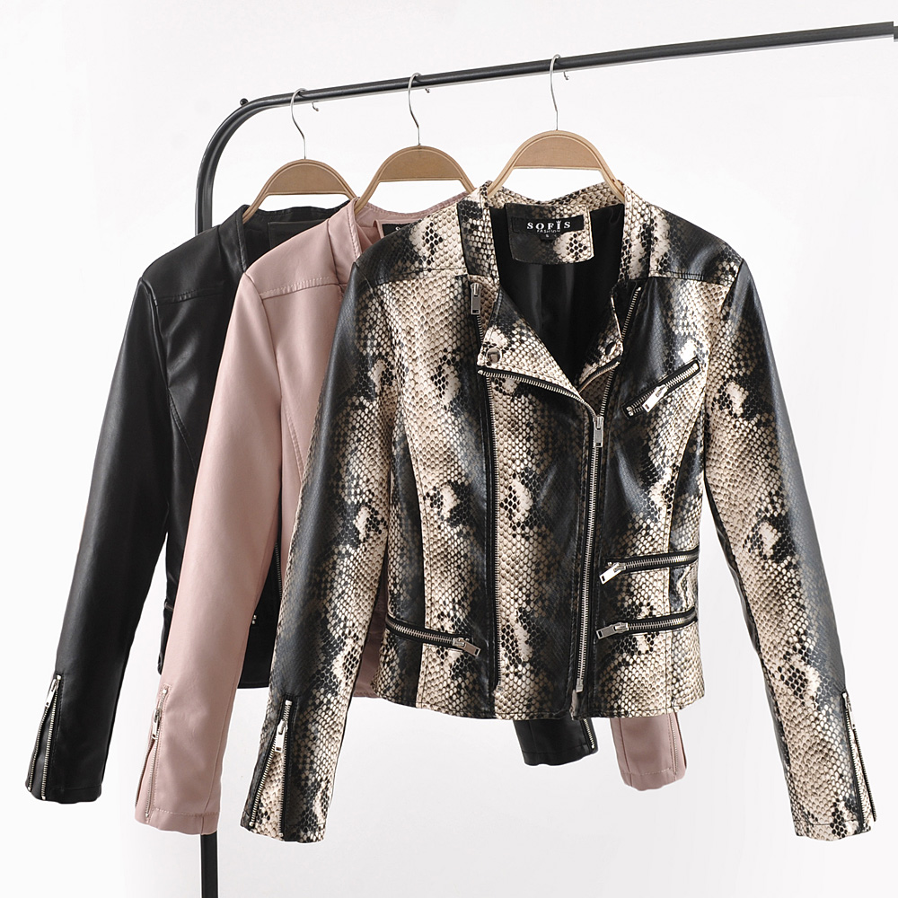 2019 New Fashion Women Hot Motorcycle Faux   Leather   Jackets and Coats Ladies Autumn Winter Snake Skin Black Streetwear Outerwear