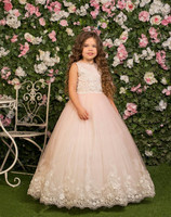 Ivory Lace Pink Flower Girls Dresses For Weddings Tulle Lace Top Formal Kids Wear For Party Communion Dress Tulle