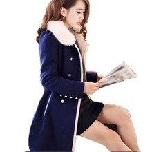 2016 New Winter Elegant Wool Coat Women Removable Fur Collar Double-breasted Slim Warm Long Woolen Jacket Outerwear A1466