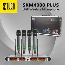XTUGA SKM4000 PLUS Professional 4-канал частоты UHF Беспроводная микрофонная система Металл встроенный, одночастотный, до 260Ft, 4x100Channels