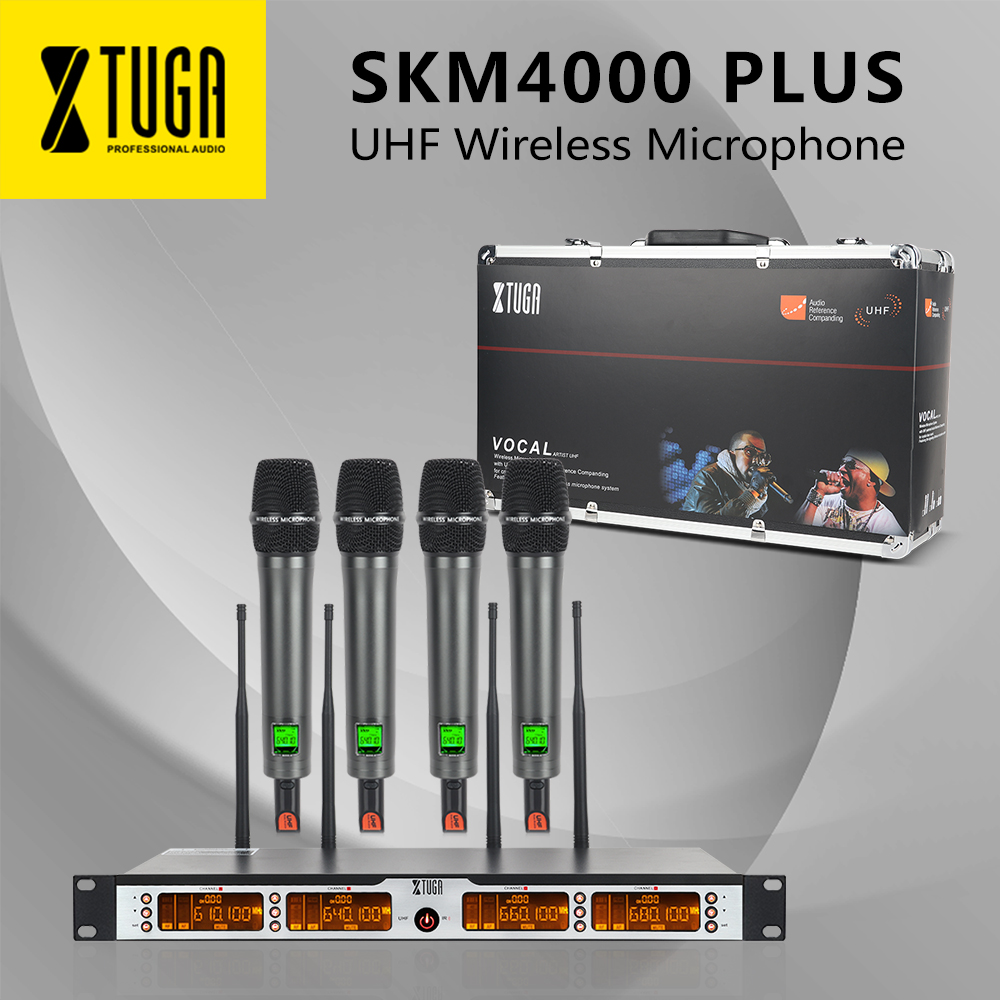 XTUGA SKM4000 PLUS Professional 4 100 Channels UHF wireless microphone system Metal Built Selectable Frequency Up