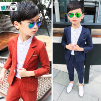 Hot Sale 2018 Autumn Striped Kids 3PCS Formal Suits Boys Party Costume Suits Boys Orange Navy Child Blazer Weddings Suit S8O502A