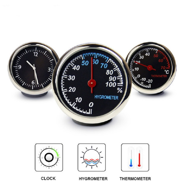 Car Mini Automobile Digital Clock Auto Watch Automotive Thermometer Hygrometer Decoration Ornament Clock In Car Accessories-in Ornaments from Automobiles & Motorcycles