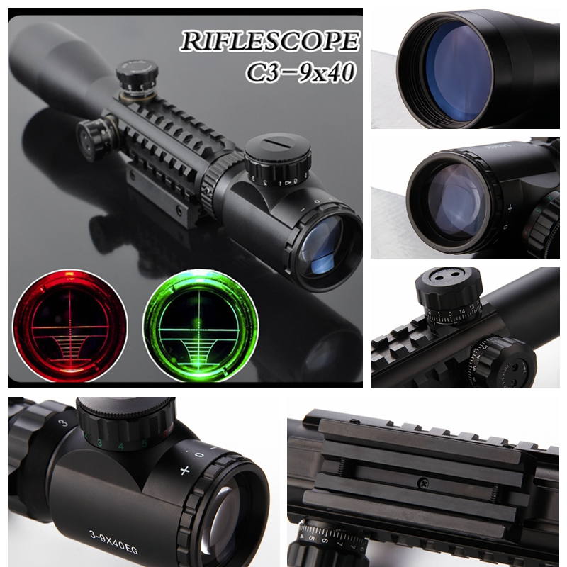 3-9X40 Illuminated Red Laser RiflescoTactical Air Rifle Optic Spotting Scopes For Hunting Camping Hunting Optics