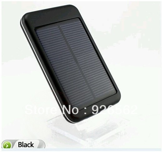 Free Shipping Black 5000mAh Solar Charger Powered Back Up Battery Charger Used For Mobile Phone