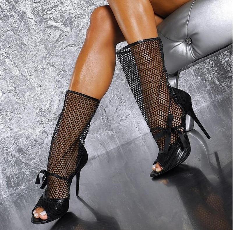 Sexy Peep Blub mollet Cuir Femmes Picture Chaussette Bottes Bottines En Toe Peau Mi Maille Nuit De Noir As Talons Chaussures Habillées Serpent Pour trOwUr0q
