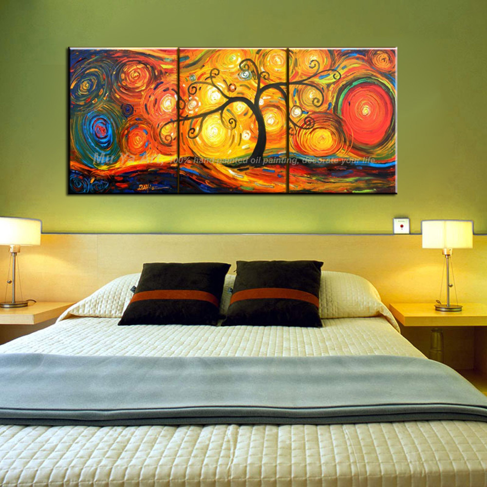 Contemporary modern acrylic tree paintings abstract 3 piece canvas ...
