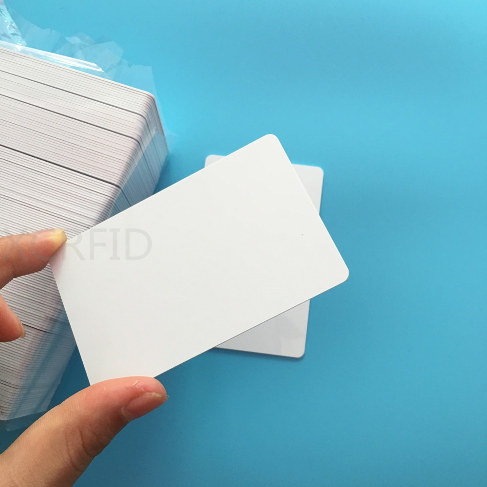 50PCS Inkjet Plastic Printable White PVC Card With S50 MF1 ISO RFID Card For E pson C anon Inkjet Printer 20pcs lot double direct printable pvc smart rfid ic blank white card with s50 chip for epson canon inkjet printer