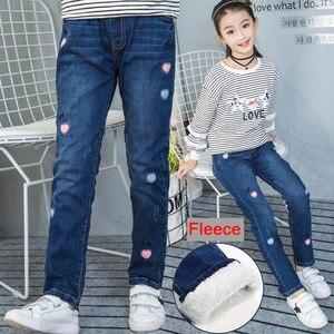 Image 4 - צמר ג ינס עבור בנות חורף ילדי בגדי 2019 בגיל ההתבגרות כותנה עבה חם קאובוי חותלות אלסטיות ג ינס מכנסיים ילדה 12 שנים