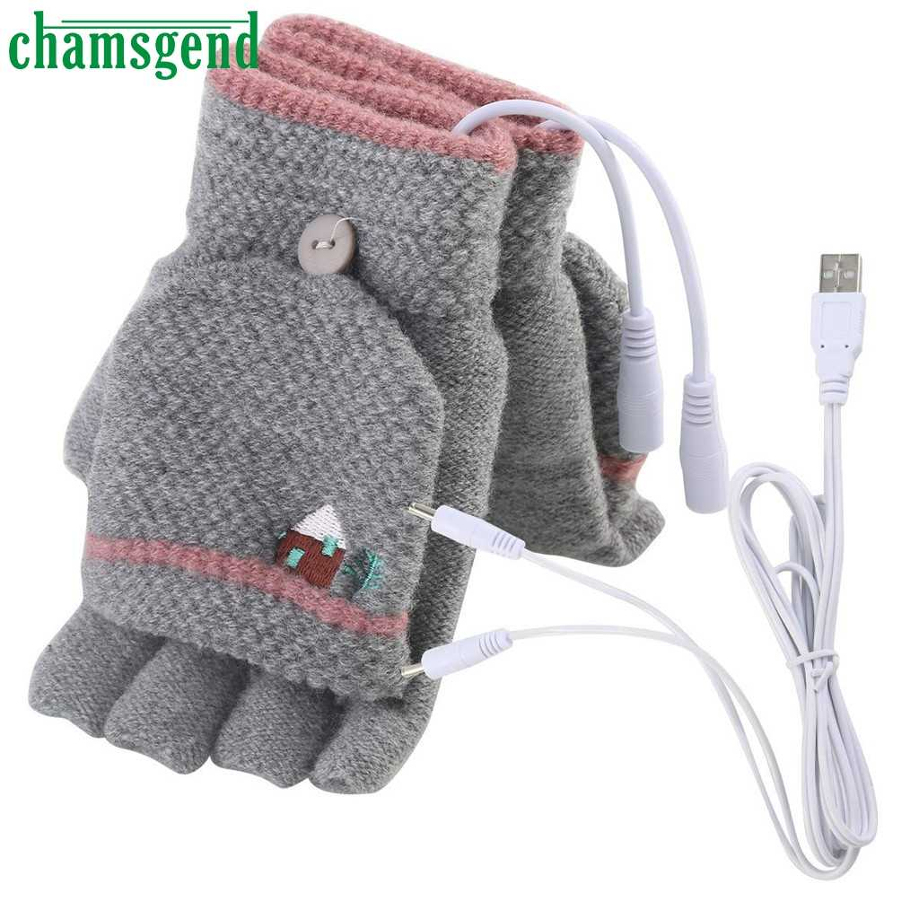 Chamsgend Winter Warm Women Charging gloves Laptop Women Men USB Heated Mitten Full&Half Finger Winter Warm Knit Hand Gloves #35