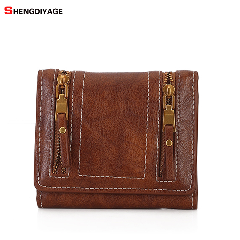 Vintage Wallet Women Purse Female Leather Wallets Card Holder Zipper Designer High Quality Womens Wallets and Purses sac a main