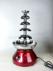 Cafeteria Wedding Party NEW Chocolate Fondue Fountain 5 Layers Wine Red Color Stainless Steel 230W