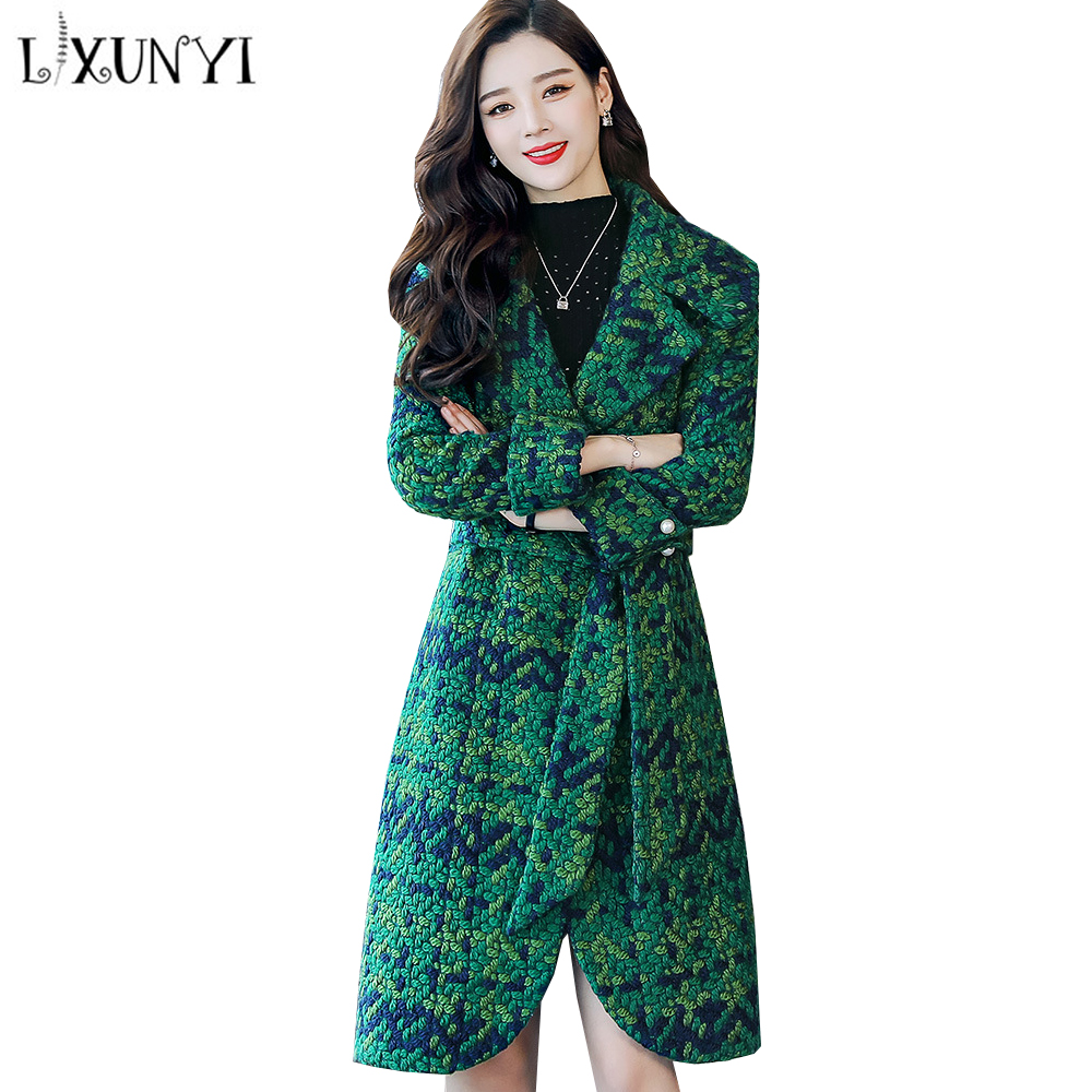 LXUNYI 4XL Autumn Plaid Women Wool Coat Female Jacket Long Autumn 2018 Belt Red Green Ladies Overcoat Outwear Coats Plus Size