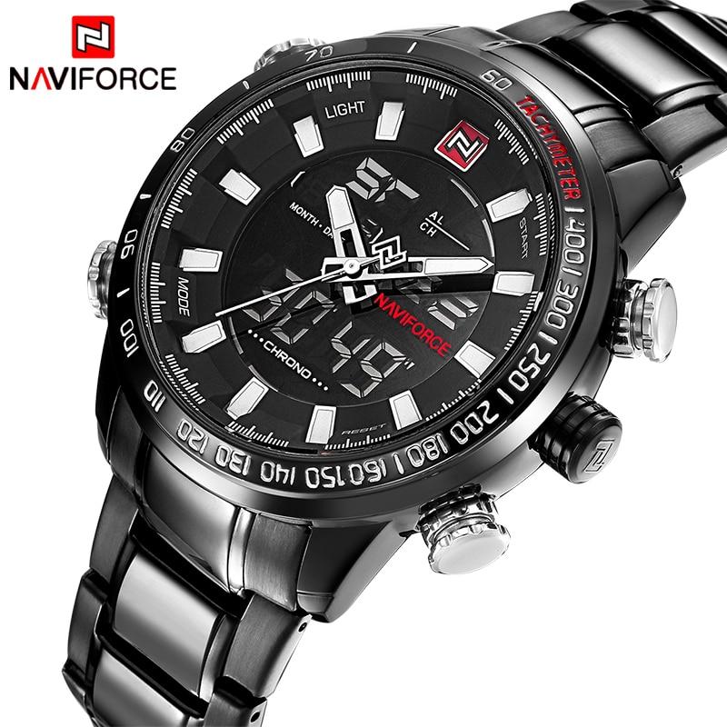 Top Luxury Brand NAVIFORCE Men Full Steel Sport Watches Men's Quartz Analog LED Clock Man Military Wrist Watch Relogio Masculino