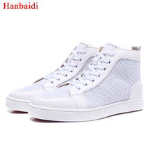 Hanbaidi Fashion Air Mesh Mens Casual Shoes Breathable Lace Up High Top Laofers Runway Outfit Sneakers