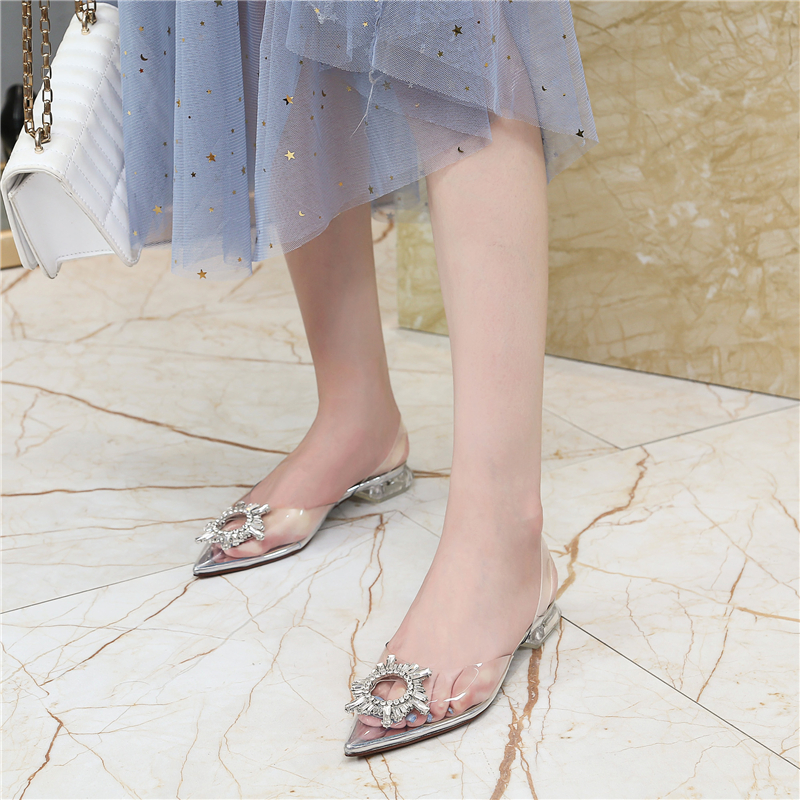 HTB1VSD3bv1H3KVjSZFBq6zSMXXaD Women's high heel sandals 2019 summer new pointed low heel rhinestone decorative sandals 42 large size jelly shoes