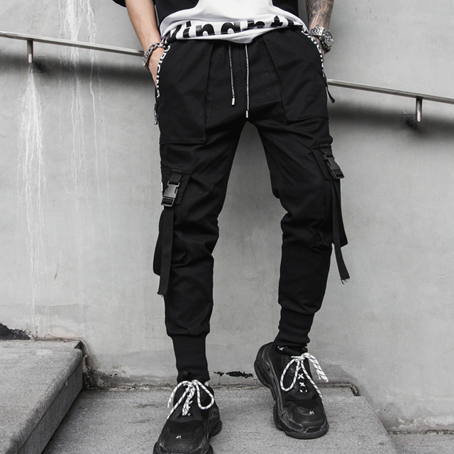 2020 Spring Hip Hop Joggers Men Black Harem Pants Multi-pocket Ribbons Man Sweatpants Streetwear Casual Mens Pants M-3XL 4