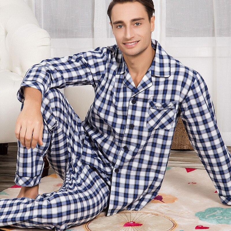 Suit Pajamas-Set Home-Wear Long-Sleeve Men's Winter Cotton Blue Autumn Plaid Trousers