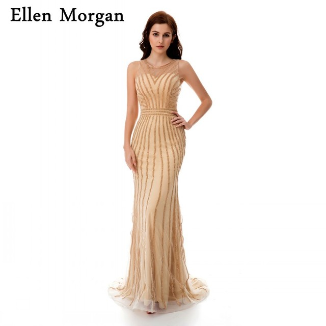 Champagne Long Mermaid Evening Dresses 2019 with Crystal Trumpet Tulle Transparent Floor Length Sexy Elegant Formal Prom Gowns