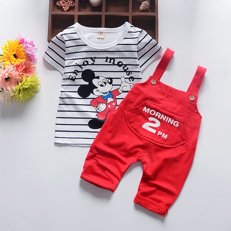 2017 Summer fashion children Mickey cartoon clothing set baby boys stripe t-shirt overalls clothes suit kids costume