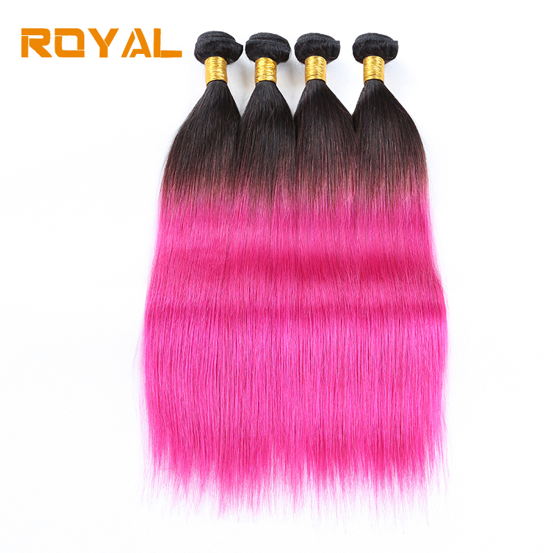 Pre-colored Human Hair Wave 4 Bundles Burmese Straight 1B/Pink Non Remy Royal Human Hair Weft Bundles ...