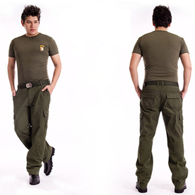 Men's Cargo Pants Millitary Clothing Tactical Pants Outdoor Camo Workwear causal Multi-Pockets Loose Full Length Trousers 3